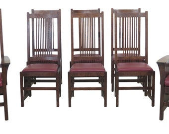 1b8b25258a 47494EC: Set Of 8 STICKLEY Mission Oak High Back Dining Room Chairs