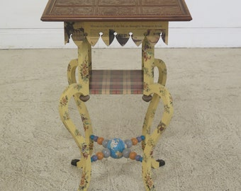 30896EC: MACKENZIE CHILDS Paint Decorated Victorian Style Table