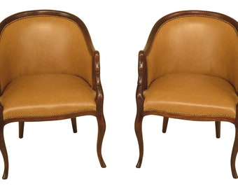 46436EC: Pair Swan Carved Arm Leather Club Chairs