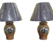 F48453EC Pair ROWE POTTERY WORKS Blue Stoneware Lamps w. Shades