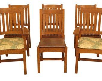 30608EC: Set Of 6 STICKLEY Mission Oak Dining Room Chairs