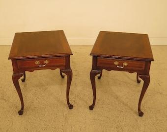 45672ec pair councill craftsmen 1 drawer mahogany living room end tables - Antique Mahogany End Tables