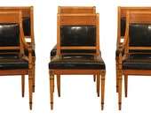 LF30949EC Set of 6 KITTINGER Regency Style Satinwood Dining Room Chairs