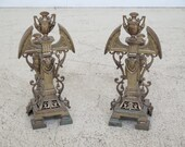 F45400EC Pair of Antique French Brass Fireplace Andirons with Rams Head