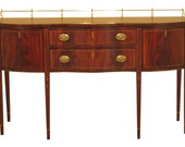 47521EC HENKEL HARRIS Inlaid Mahogany Federal Sideboard w. Brass Gallery