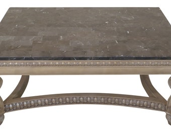 c6b9fc87b3402 46184EC: Large Paint Decorated Carved Marble Top Coffee Table