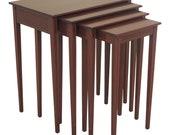 47542EC Set Of 4 Stacking Nesting Inlaid Mahogany Tables