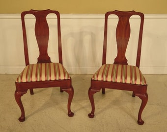 41244AE: Pair HENKEL HARRIS #103 Cherry Queen Anne Dining Side Chairs