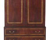 45984EC English Mahogany 2 Door Lined Linen Press Armoire Cabinet