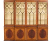 45190EC EJ VICTOR Satinwood Inlaid 4 Door Breakfront Bookcase