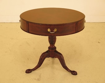 25631EC: HENKEL HARRIS Round Clawfoot Mahogany Drum Table