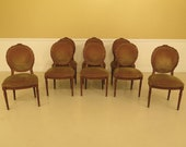 29784EC Set Of 8 French Louis XV Carved Walnut Dining Room Chairs