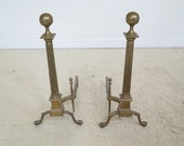F45401EC Pair Chippendale Claw Foot Antique Brass Fireplace Andirons