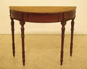 30153EC Stunning Inlaid Top 1 2 Round Console Table w. Drawer