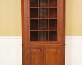 23012E HENKEL HARRIS 12 Pane Solid Walnut Corner Cabinet