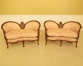 45013EC Pair French Louis XV Style Carved Walnut Loveseats