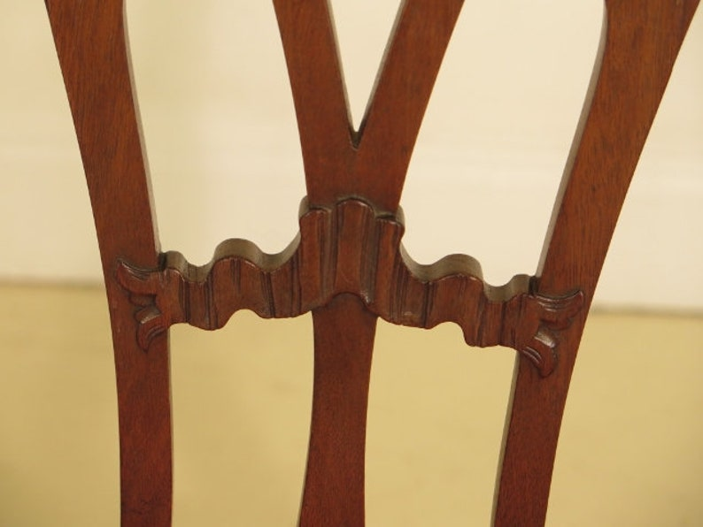 F29779EC Chippendale Vintage Mahogany Double Settee Bench