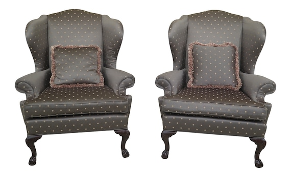 Amazing 47353Ec 54Ec Pair Ethan Allen Ball Claw Mahogany Wing Chairs Short Links Chair Design For Home Short Linksinfo