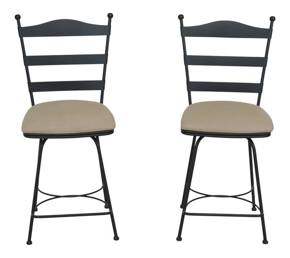 Peachy 47158Ec Pair Charleston Forge Iron Swivel Seat Bar High Chairs Caraccident5 Cool Chair Designs And Ideas Caraccident5Info
