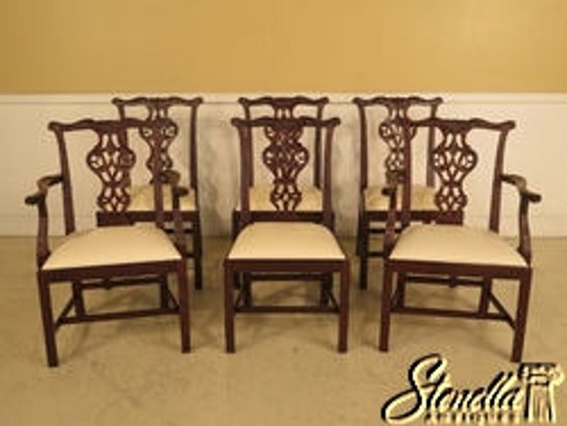 L43043E: Set Of 6 BAKER Carved Mahogany Dining Room Chairs