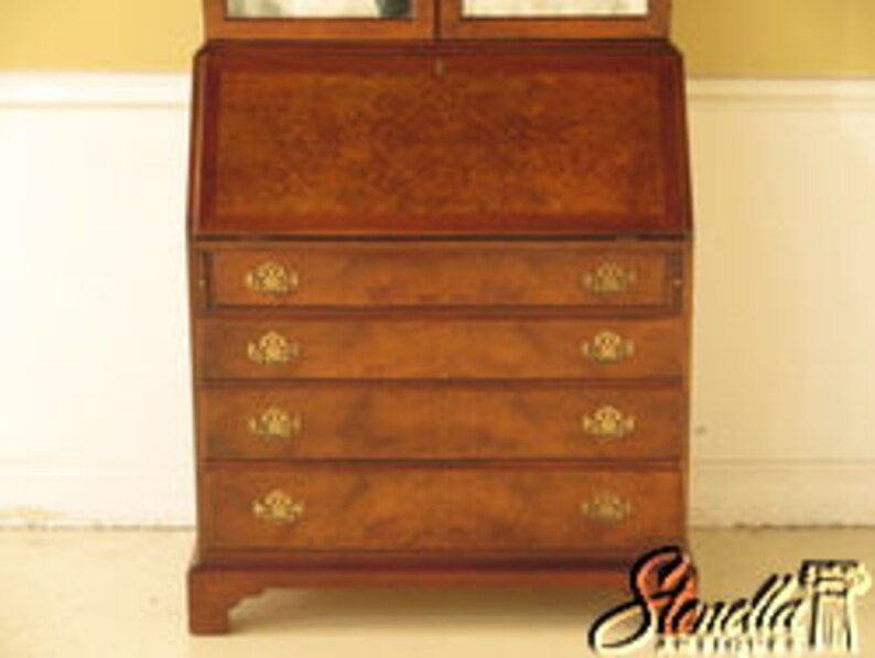 English George III Style Burl Walnut Secretary Desk L23661E