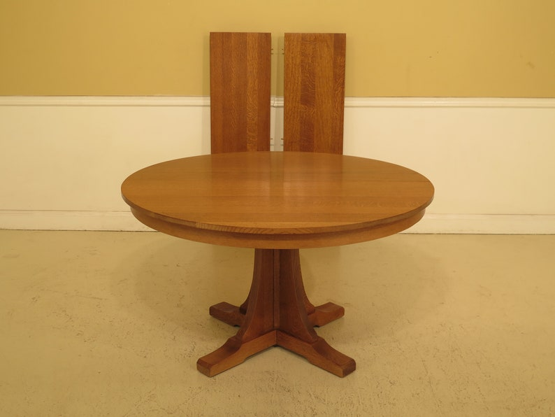 "47042EC: STICKLEY 52"" Round Mission Oak Dining Room Table"
