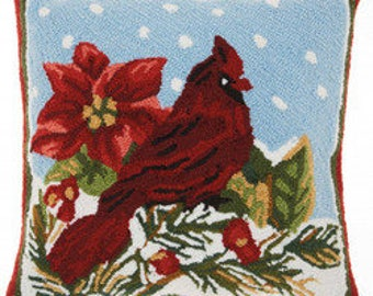 LF43313E: Knitted Cardinal & Holly Holiday Winter Pillow