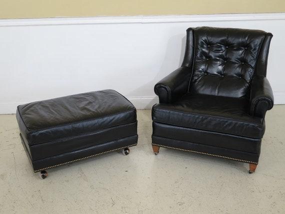 Miraculous F30292Ec Sherrill Black Leather Club Chair Ottoman Alphanode Cool Chair Designs And Ideas Alphanodeonline