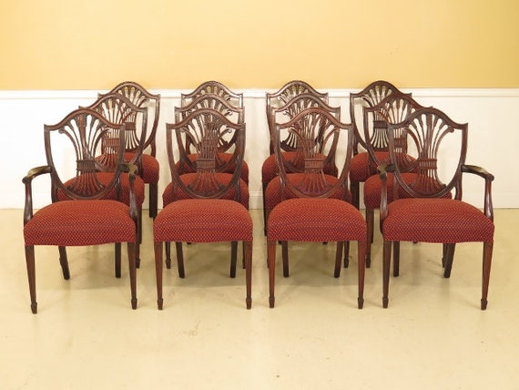 25638EC: Set OF 12 STICKLEY Shield Back Mahogany Dining Room Chairs