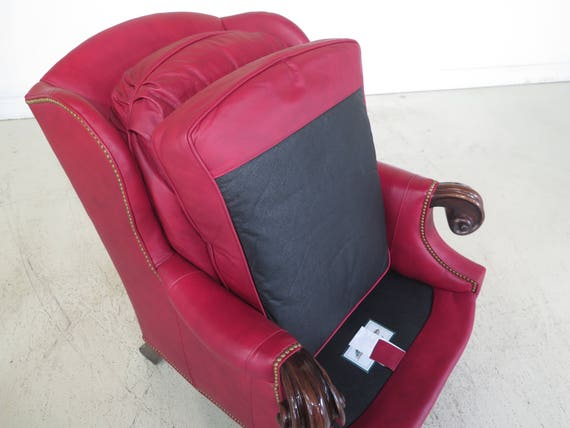 Miraculous 29537E Stanford Large Red Leather Chair Ottoman Machost Co Dining Chair Design Ideas Machostcouk