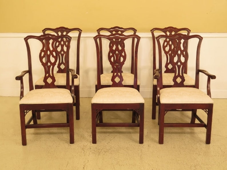 3e4559011f79 L45152EC  Set Of 6 KNOB CREEK Chippendale Cherry Dining Room