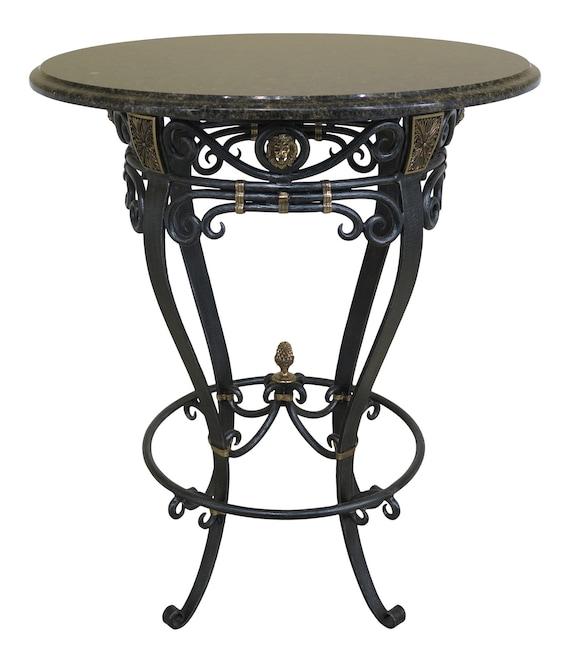 46282EC: Round Granite Top Iron Base Bistro High Top Table