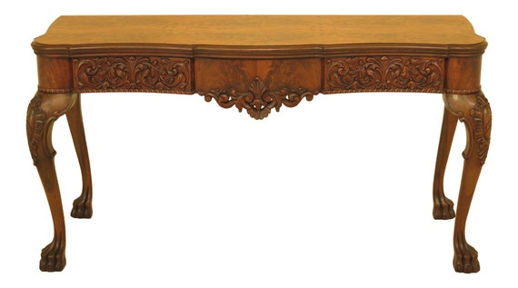 Fabulous F30478Ec Vintage 1930S Carved Walnut Flip Top Console Table Gmtry Best Dining Table And Chair Ideas Images Gmtryco