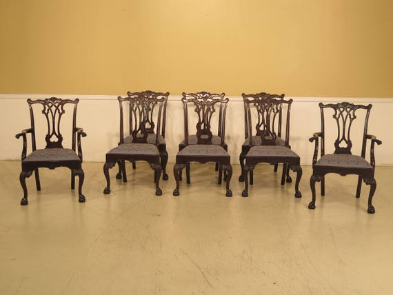 L43550EC: Set Of 8 STICKLEY Chippendale Mahogany Dining Room Chairs
