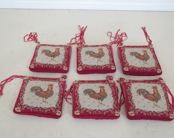 LF42994E: Set Of 6 Hand Done Needlepoint Rooster Seat Cushions