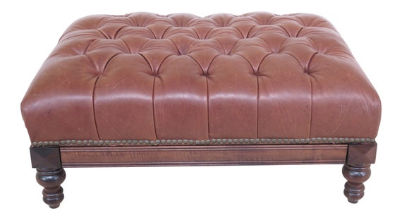 Fabulous 25659Ec Tufted Leather Ottoman Coffee Table W Pull Out Tray Machost Co Dining Chair Design Ideas Machostcouk
