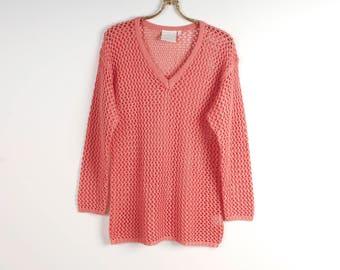 Salmon Pink Sweater Crochet Sweater Netting Sweater Womens Crocheted Top Summer Sweater Boho Chic Sweater Romantic Sweater Size Medium