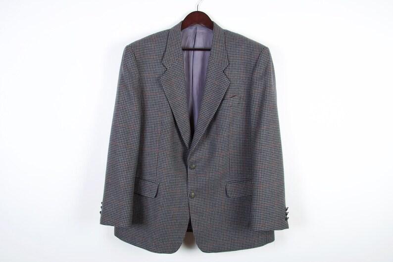 Plaid Virgin Wool Bland Tweed Mens Blazer Sport Coat Gray Brown Houndstooth Jacket Size Medium