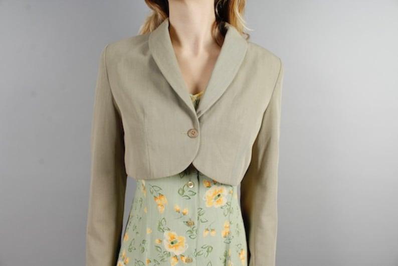 Vintage 1980s Jacket Short Jacket Cropped Jacket Olive Green Bolero Minimalistic Design Jacket Women/'s Open Back Blazer Size Medium