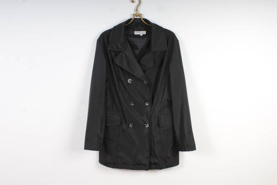 90's Women's Trench Black PVC Trench Coat Button R