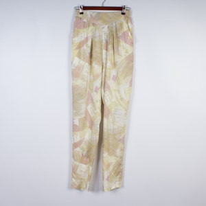 Vintage 80s Pants Champagne Pants Beige Hippie Boho Pants Summer Pants Tapered Leg Pants Pockets Hammer Pants Pleated Trouser Size Medium