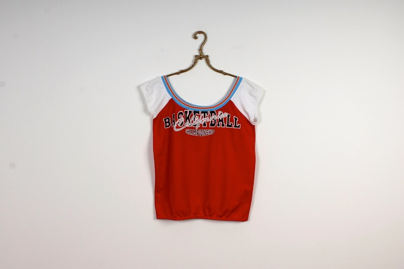 Hipster 90s Grunge Tee Shirt Dance Top Basketball Top Elastic Top Summer Top Red Cheerleader Top Short Sleeves Top Size Medium