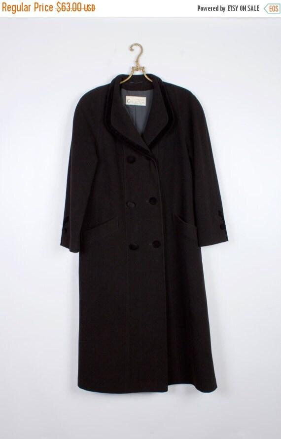 Black Coat. 80's Women's Wool Blend Coat. Black Lo