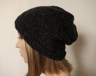 8b5678e04d7 Manhattan Benie Charcoal Slouchy Hat Hand Knit Hat Unisex Beanie Hipster  Oversized Beanie Boho Beanie Knit Slouchy Hat by irinakdesigns