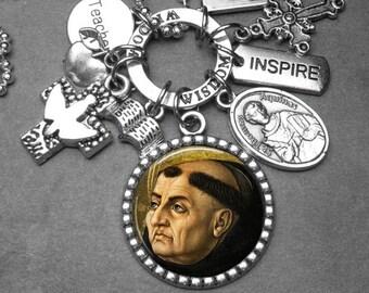 Teachers Patron St. Thomas Aquinas Picture Pendant & Multi Charm Necklace, Catholic Gift, Catholic Jewelry, Teacher Gift