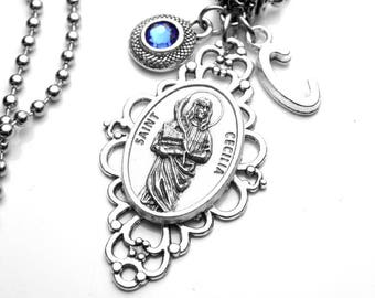 St cecilia necklace etsy more colors musicians patron saint st cecilia holy medal filigree pendant aloadofball Gallery