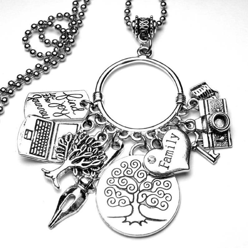 Genealogy Family Tree Multi Charm Necklace Family History LDS