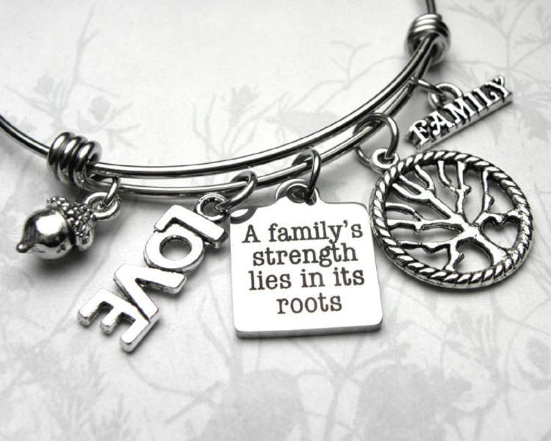 Genealogy Family Tree of Life Love Charm Bangle Bracelet, Family History,  LDS, Genealogist Gift, Roots, Acorn, Love Charms