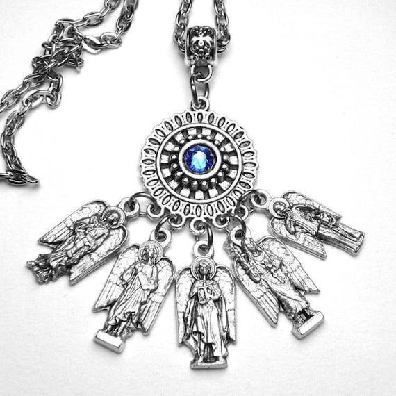 Archangels Guardian Angel Catholic Patron Saints Prayer Amulet Custom  Birthstone Necklace, St  Michael Raphael Uriel Gabriel