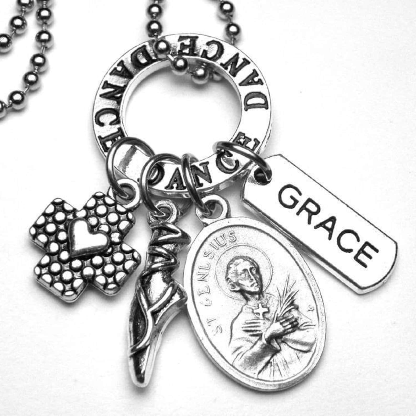 dancers patron saint st. genesius holy medal charm necklace or key chain keychain, catholic jewelry gift, grace, dance, ballet,